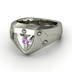 Men's Sterling Silver Ring with Amethyst - lay_down