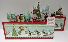 """I decided to merge two card folds into one! So I made a Z-Fold Pop-up Box card! I used the gorgeous new Helz Cuppleditch """"Wonderland"""" papers and decoupage. Pop Up Box Cards, Decoupage, Wonderland, Paper, Christmas, Products, Xmas, Weihnachten, Yule"""