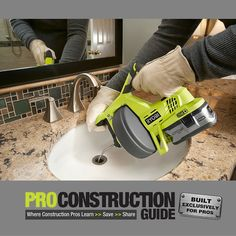 The cordless drain auger from Ryobi easily removes clogs from drains in sinks, toilets and bath tubs. www.proconstructionguide.com/cordless-drain-auger-from-ryobi/