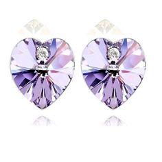 Sacro Cuore - Crystal Heart Stud Earrings