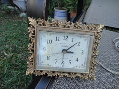 Vintage Sunbeam alarm clock gold with ornate by MilliesAttique, $27.00
