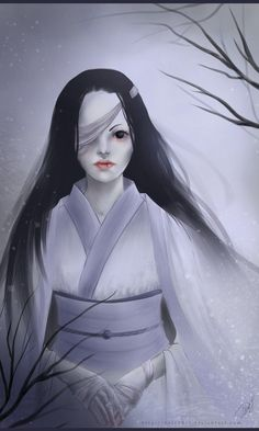 Yuki Onna is a character in Japanese folklore - spirit or yōkai. Yuki Onna, Japanese Folklore, Scary Art, L5r, Mythological Creatures, Scary Halloween, Mythology, Devil, Asian