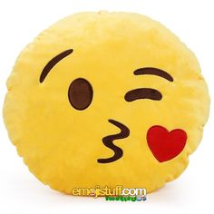 """The offical name for this emoji is """"Face Throwing A Kiss.""""  That's probably because emoji originate in Japan, and someone mistranslated blowing as throwing.  But that doesn't really matter, since emoji are meant to replace words!This pillow is super soft and cuddly, and would make a great emoji gift for a boyfriend, husband, wife, girlfriend, bae, hookup, or anyone who you like kissing"""