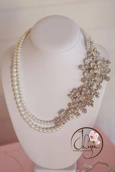 Bridal Statement Necklace Rhinestone Pearl Necklace, $94.00