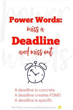 """Power words: How to use the word """"deadline"""" Easy Writing, Blog Writing, In Writing, Writing Tips, Writing Websites, Blog Websites, Writing Resources, Persuasive Writing Techniques, Email Subject Lines"""