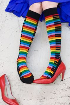 They haven't gone up yet, but we're anticipating this knee high version of Bench Traffic Rainbow Piano socks! I'm pretty much in love with this photo. Howleen Wolf, Lindy Bop Dress, Back In The 90s, Sexy Socks, Rainbow Fashion, Knee High Socks, High Boots, Crazy Socks, Weird Fashion