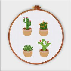 Cactus cross stitch pattern Cute modern succulent от ThuHaDesign