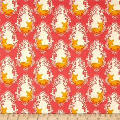 Designed by Bonnie Christine for Art Gallery Fabrics, this cotton print is perfect for quilting, apparel and home decor accents.  Colors include white, gold and dark coral orange.  Art Gallery Fabric features 200 thread count of finely woven cotton.