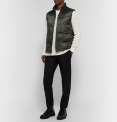 Theory Slim-fit Quilted Shell Down Gilet In Green Acne Studios, Theory, Two By Two, Bomber Jacket, Trousers, Slim, Mens Fashion, Coat, Fitness