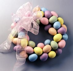 Easter egg wreath- a bit involved but would be something you could keep for a long time if stored properly