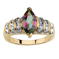 MarquiseCut Genuine Mystic Fire Topaz 18k Yellow Gold over 925 Sterling Silver Step Top Ring >>> Read more reviews of the product by visiting the link on the image.Note:It is affiliate link to Amazon. #Jewelry