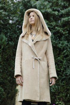 Ladies sheepskin coat, 3/4 length sheepskin coat in toscana shearling or merino sheepskin . Large oversized hood, Holly style. Made in England by British Sheepskin Co.