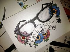 Buddy Holly glasses old school tattoo handmade card