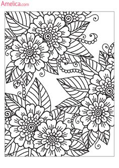 Coloring Pages For Grown Ups, Adult Coloring Book Pages, Printable Adult Coloring Pages, Flower Coloring Pages, Mandala Coloring Pages, Colouring Pages, Coloring Books, Mandalas Drawing, Book Drawing