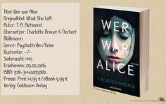 """In """"Wer war Alice"""" fand ich einen gut unterhaltenden Roman mit Einbindung des Social Media und anderen modernen Kommunikationsformen. T. R. Richmond schreibt sein Debüt auf eine interessante, gegenwärtige Art & Weise. ~ zeitgemäß ~ komplex ~ ausschweifend"""