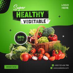 Food Graphic Design, Food Poster Design, Menu Design, Food Design, Creative Design, Social Media Poster, Social Media Design, Shop Banner Design, Vegetable Delivery