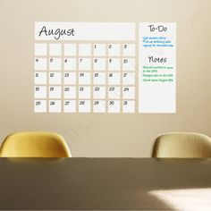 Dry Erase Calendar| Writable Dry Erase Wall Decal| WallsNeedLove