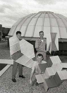 Kite flyers on campus (1964)