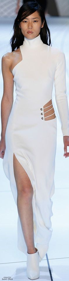 @roressclothes closet ideas #women fashion white maxi dress Mugler Fall 2015