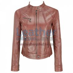 BANDED COLLAR WASHED LEATHER SCUBA JACKET IN BROWN for SEK1,782.66 - https://www.leathercollection.com/en-sw/brown-leather-scuba-jacket.html