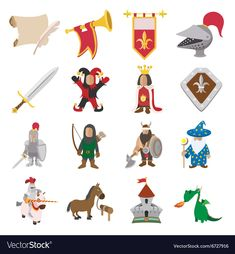 Buy Medieval Cartoon Icons Set by JuliarStudio on GraphicRiver. Medieval cartoon icons set for web and mobile devices