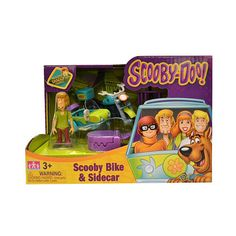 Scoobydoo Minis Vehicle with Figure - Scooby Bike & Sidecar<br>Scooby and Shaggy are never out of trouble when solving Mysteries and never far apart.  Now they can find the Mysteries together in the Bike and SideCar.  Monster Trap Included.  Storage box on rear.  Shaggy figure included.