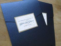 Classic navy wedding invitation by http://justinkonpaper.com