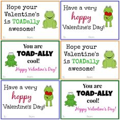These Frog Valentine Cards are the perfect way to make some kids very....HOPPY!  Free printable.  #valentines #printable