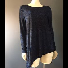 SALE! DKNY Tunic loose fit blue black diagonal cut New DKNY Tunic, size medium. This adorable tunic is full length long sleeve, loose-fitting. Blue and black print, with diagonal cut bottom hem. Stunning top! DKNY Tops Tunics