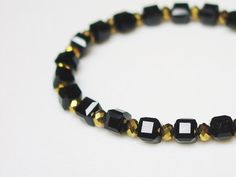 Black Boxes and Gold Crystals Bracelet / Simple / by minxandmaven