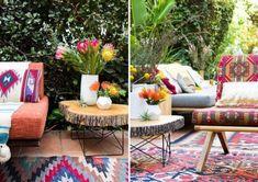 Teppichboden mit orientalischen Textilmuster, rustikaler Beistelltisch