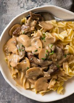 Stroganoff Beef Storganoff - A retro favourite made with juicy beef smothered in a creamy mushroom gravy.Beef Storganoff - A retro favourite made with juicy beef smothered in a creamy mushroom gravy. Beef Recipes, Cooking Recipes, Pasta Recipes, Beef Meals, Recipes With Beef Tenderloin Tips, Chicken Recipes, Cooking Bacon, Game Recipes, Quiche Recipes