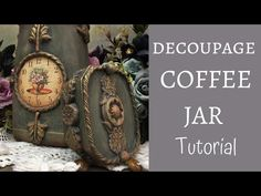 DECOUPAGE COFFEE JAR TUTORIAL | DECOUPAGE ON GLASS + SILICONE MOULD DIY TUTORIAL - YouTube Chalk Paint Uk, Altered Bottles Tutorial, Cold Porcelain Tutorial, Coffee Jars, Nifty Crafts, Decoupage Glass, Diy Silicone Molds, Bottle Cap Art, Work Gifts