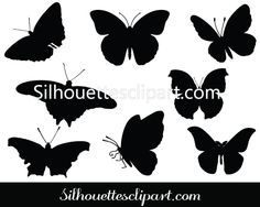 Butterfly Silhouette Clip Art Pack Download Butterfly Vectors