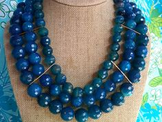 """Odette   15 """" 18 k gold plated triple strand blue lace agate stone necklace"""