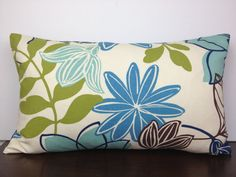 Refreshing Neutral Hued Blue Floral Pillow Cover by EastEndSaje