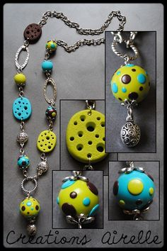 Sautoir anis/turquoise/chocolat http://www.dollycrazy.com/_fimo/
