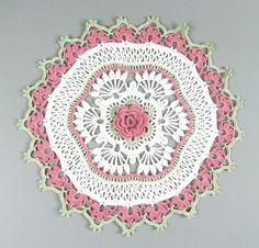 Delicate Crocheted Off White Dusty Rose Floral Rose Doily. #doily #crochet