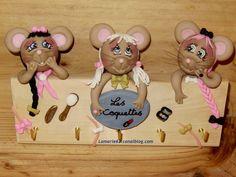 les coquettes, souris en porcelaine froide pour suspendre ses colliers
