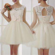 krótka suknia ślubna sukienka rozkloszowana WESELE - 6374856242 - oficjalne archiwum allegro