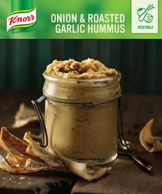 Onion & Roasted Garlic Hummus for the big game. My Favorite Food, Favorite Recipes, Roasted Garlic Hummus, Savory Snacks, Appetizer Dips, I Foods, Food Processor Recipes, Cooking Recipes, Baking