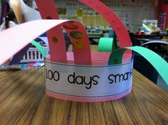 100th day hat... 10 strips with 10 stickers on each strip :)