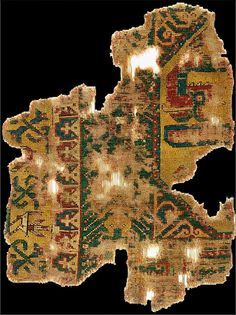 """Early """"Dragon and Phoenix"""" rug fragment, first half 15th century, Anatolia, Turkey. private collection, Italy."""