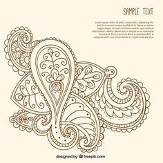 Hand drawn ornamental paisley template