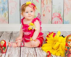 Hot Pink White Yellow Matryoshka Lace Ruffled Romper, Little Baby Girl Bright…