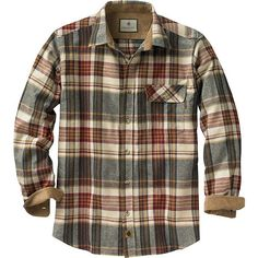 A hunter's wardrobe is not complete without a great flannel. Our exclusive plaids are made from heavyweight 100% cotton soft brushed flannel. Featuring double pleat back for ease of movement and contrasting corduroy lined collar and cuffs for a great look and lasting durability. Left chest pocket with pencil slot and button closure, and adjustable cuffs.