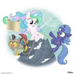 Discord, Luna, and Celestia The cutie mark crusaders hike this mountain too!!WATCH THE EPISOIED