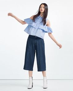 Image 2 of FRILLED POPLIN SHIRT from Zara