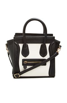 DAILYLOOK Mini Structured Handbag in White and Black | DAILYLOOK