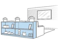 O aparador encostado atrás do sofá ajuda a organizar a sala (Foto: Ilustração Evandro Bertol)
